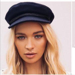 Brixton NWT Navy wool blend fiddler baker boy hat